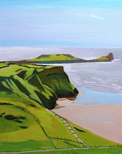 Oil painting of Worms Head from Rhossili Downs