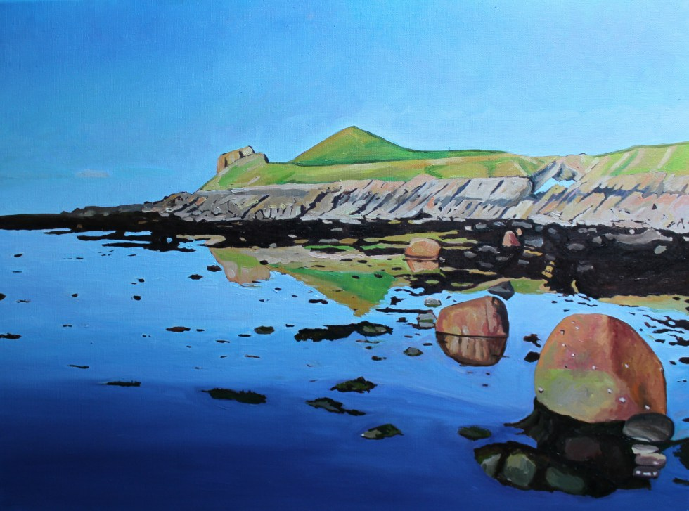 Painting of Worms Head, Rhossili, Gower