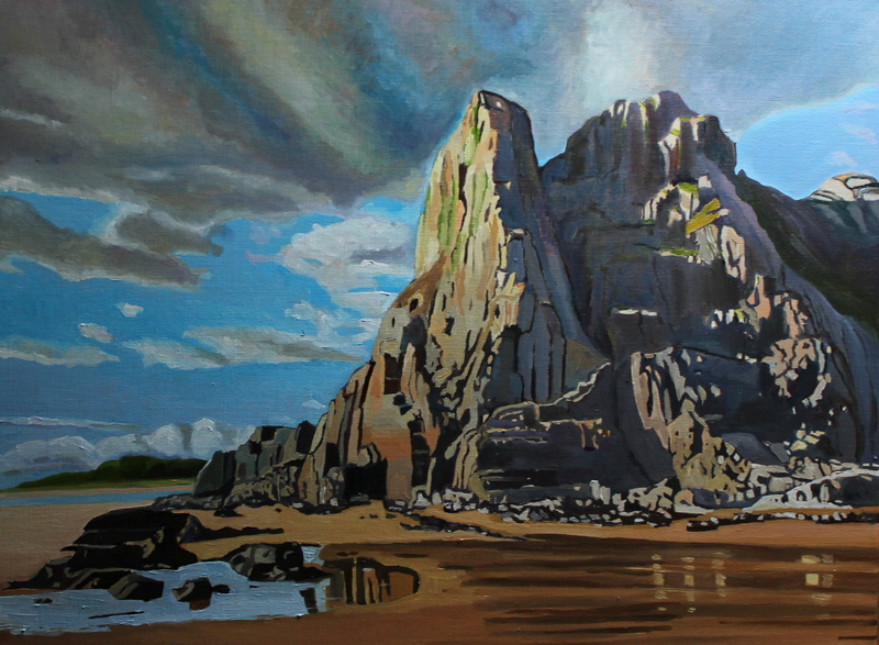 Painting of Great Tor, Three Cliffs Bay Gower