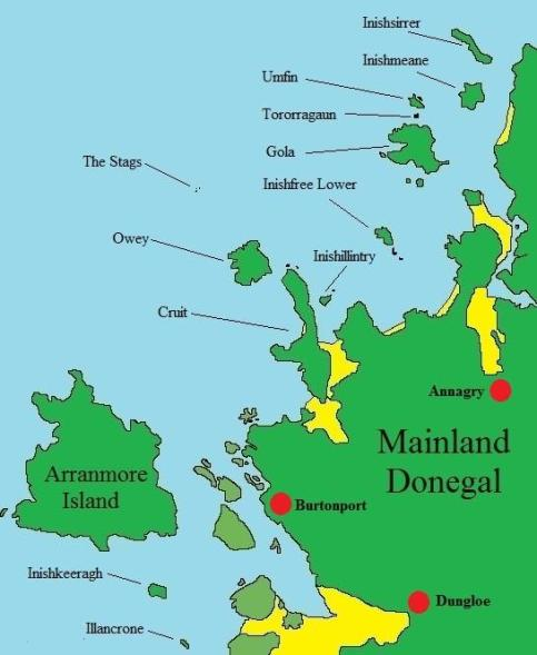 Donegal Islands Map