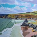 Painting of Three Cliffs Bay, Gower