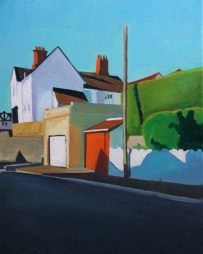 Oil painting of light and shadows on a Swansea steet.