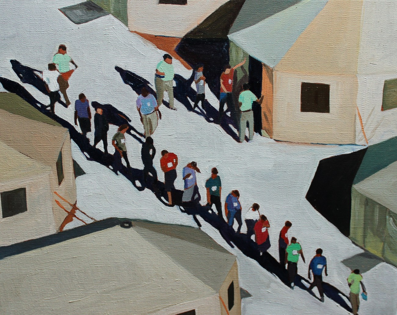 Painting of American internment camp on Mexican border