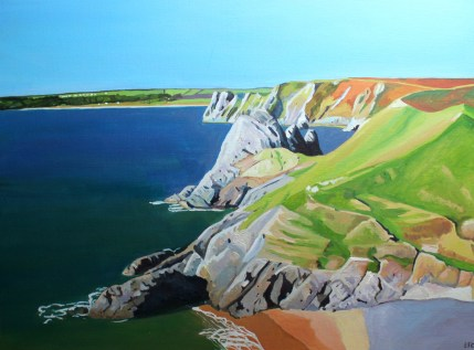 Painting of Pobbles Bay, Gower