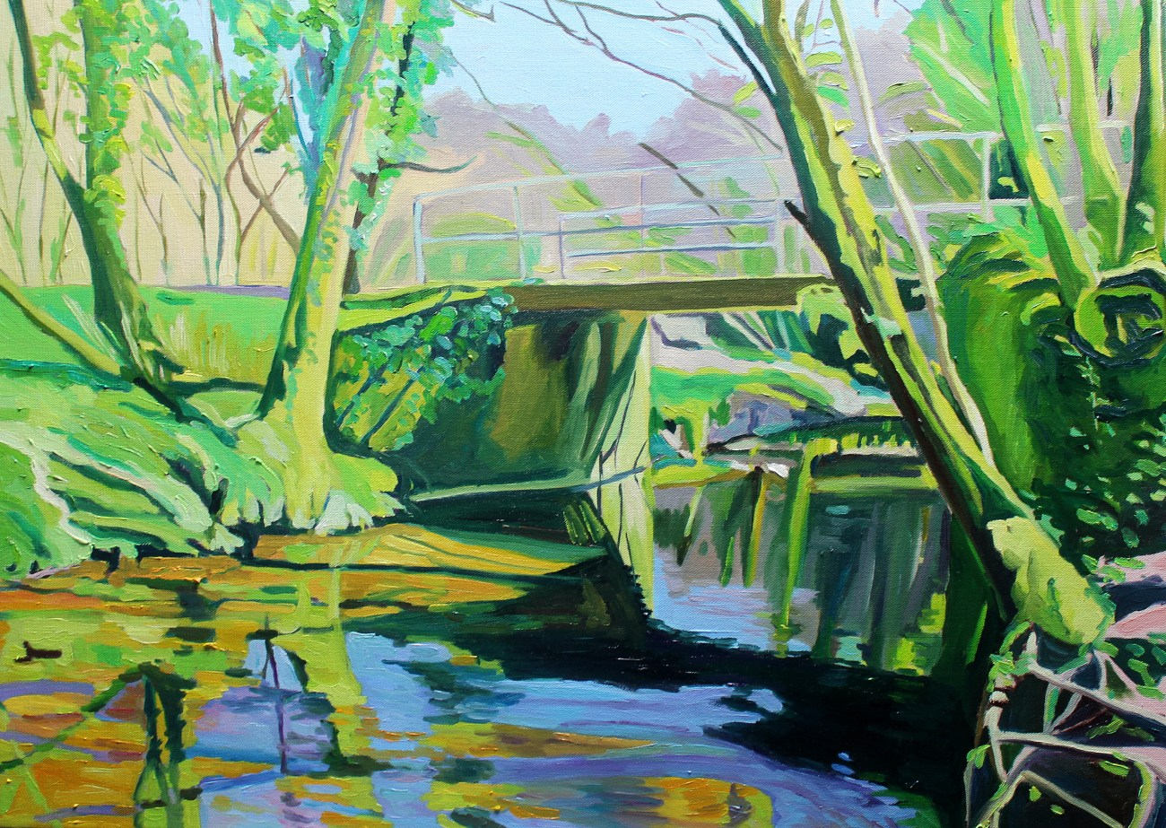 painting of woodland bridge
