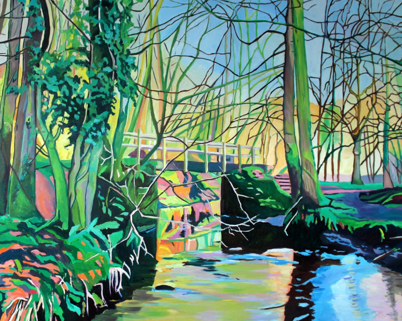 Painting of woodland bridge by Emma Cownie
