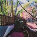 Oil Painting of woodland bridge