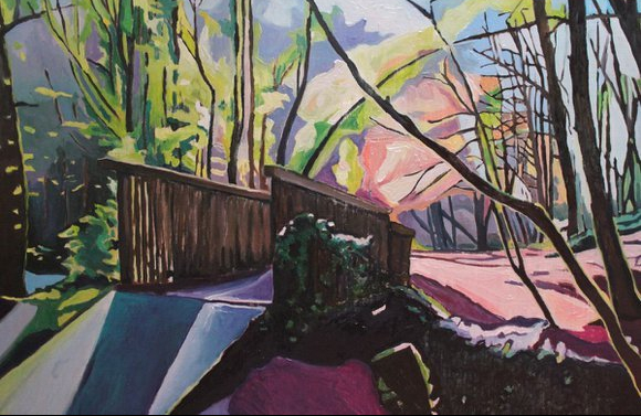 Oil Painting of woodland bridge