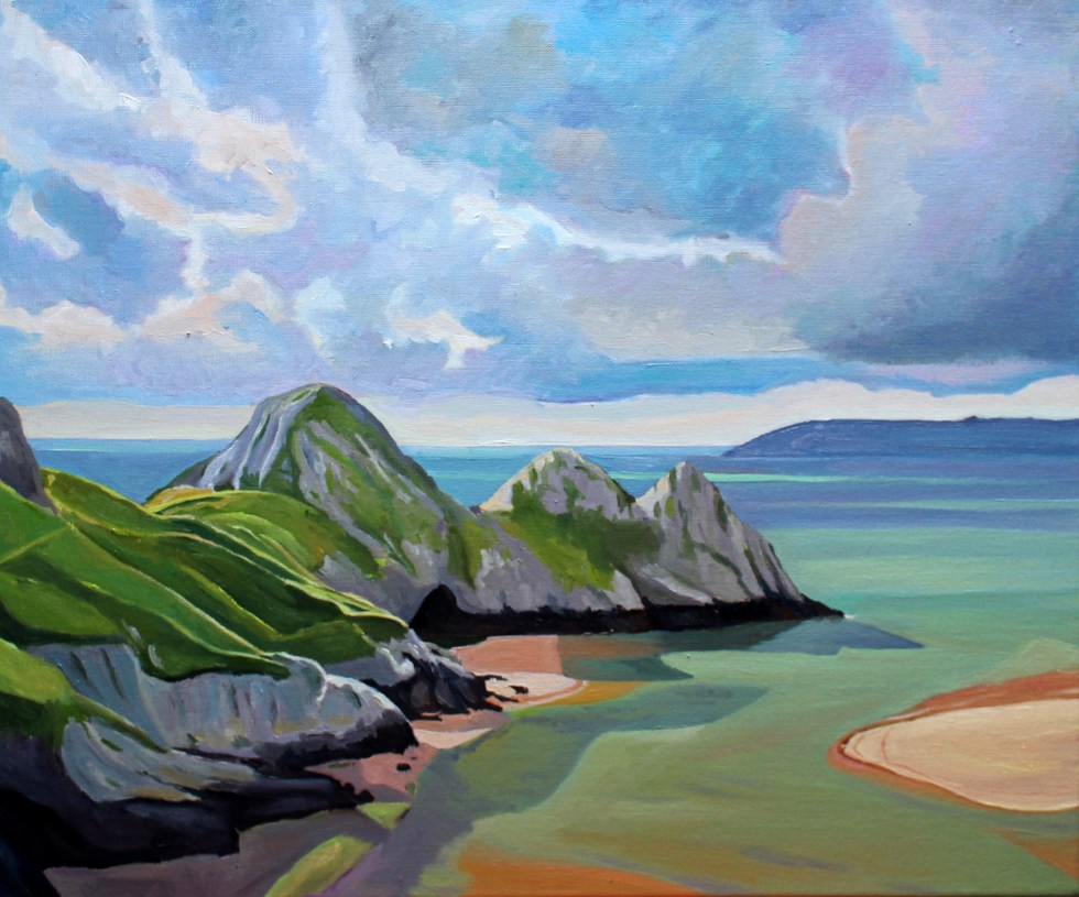 Painting of Three Cliffs Bay Gower