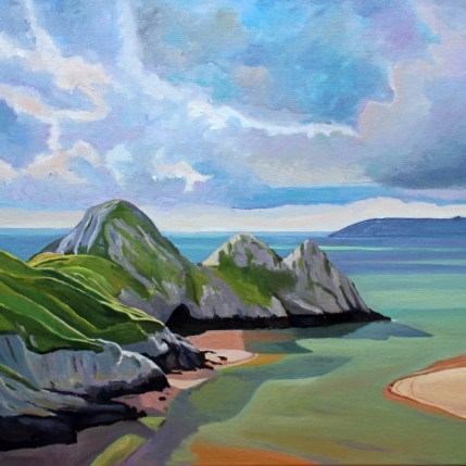Painting of Three Cliffs Bay Gower_EmmaCownie