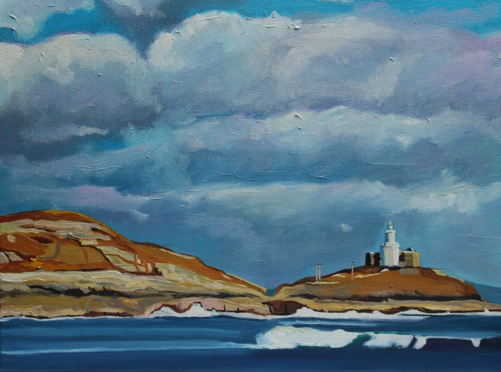 Painting of Mumbles Pier and lighthouse