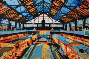Painting of Cardiff Market