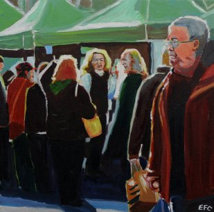 Painting of People at Uplands Market
