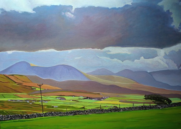 Painting of Donegal mountains