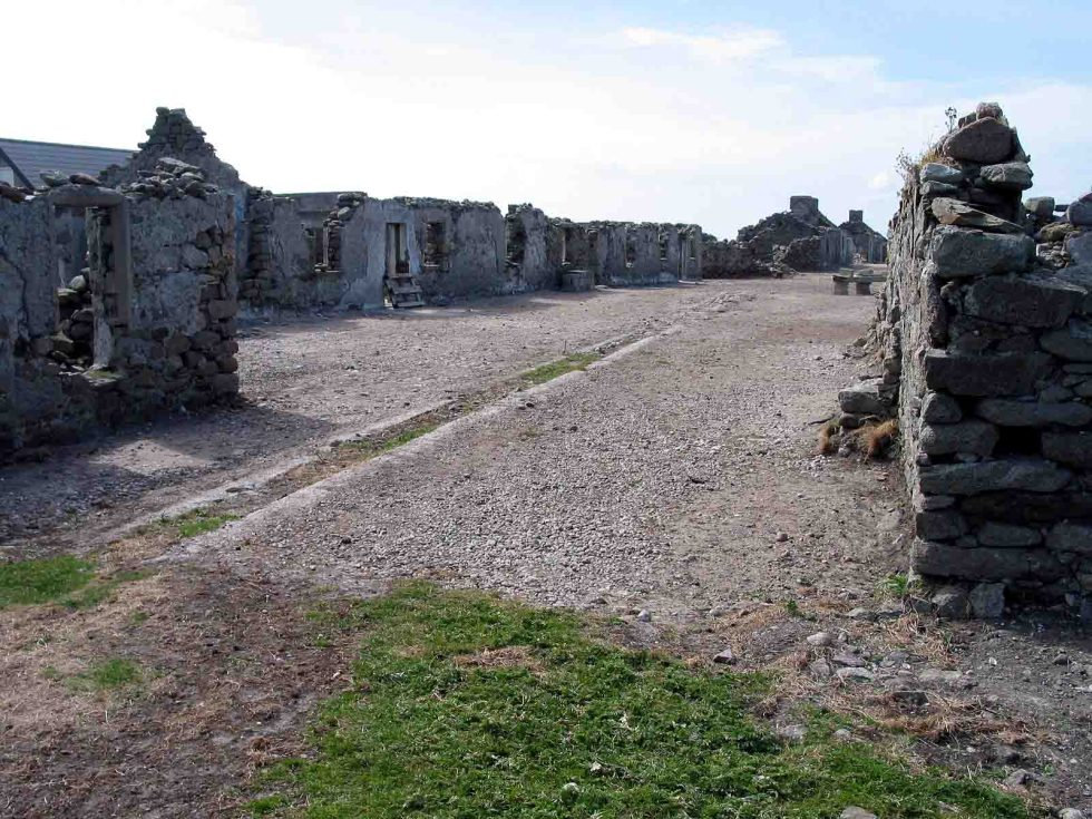 Ruins on Inishkeeragh:- Photo credit Roger Curry