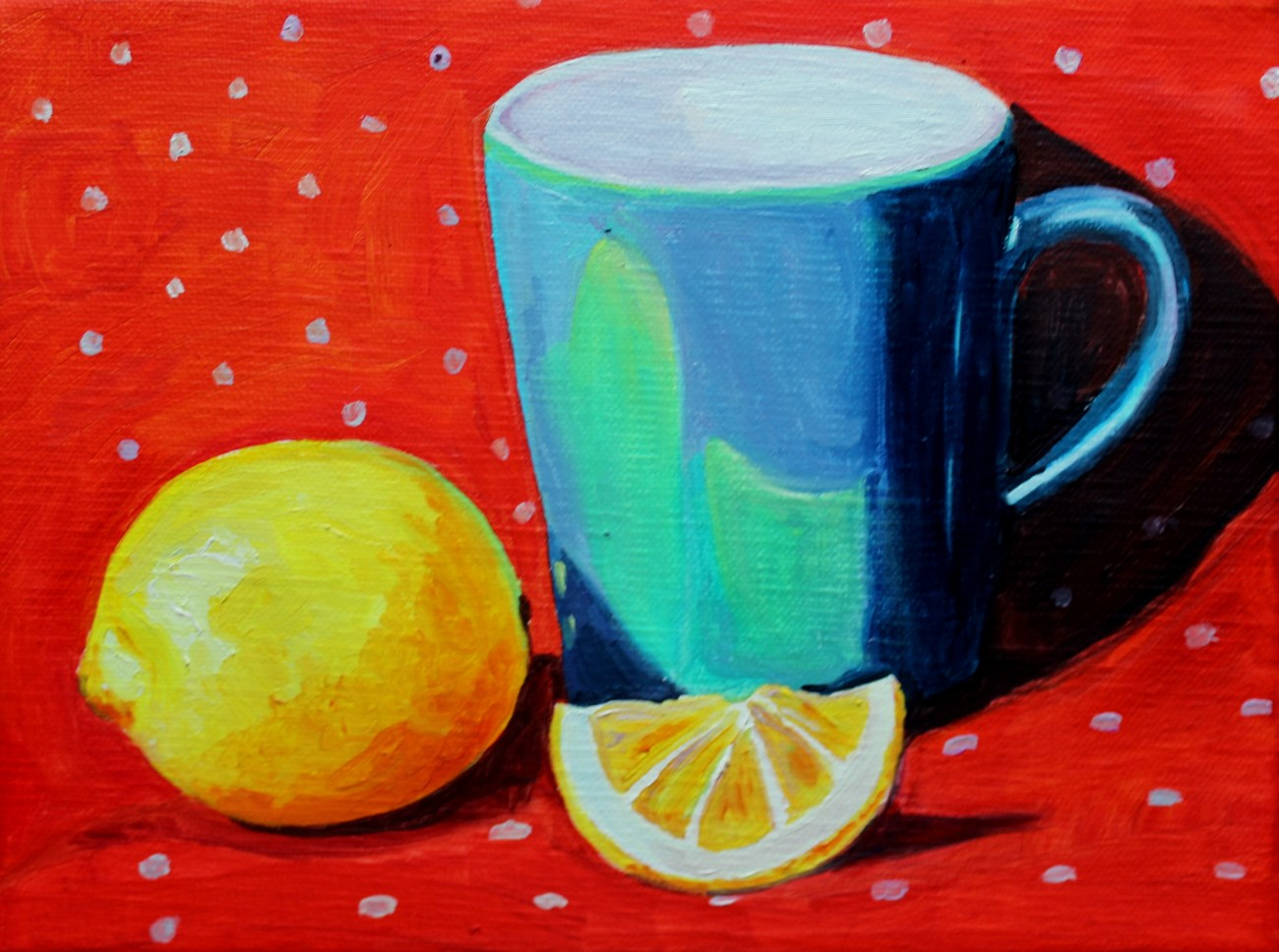 Blue cup with Lemons