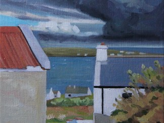 Painting of Storm Clouds Over Inshbofin, Ireland