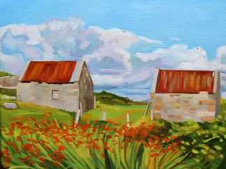 Painting of The Two Tin-Roofed Sheds, Ireland