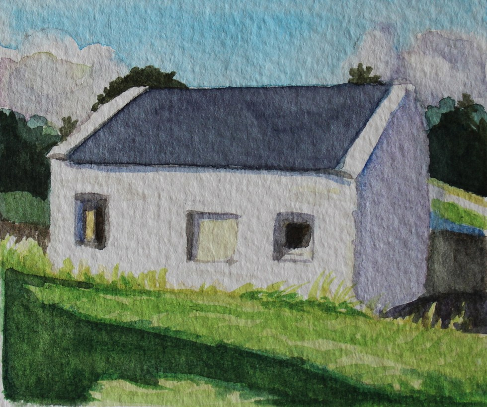 Watercolor of Old White Cottage, Arranmore, Ireland by Emma Cownie
