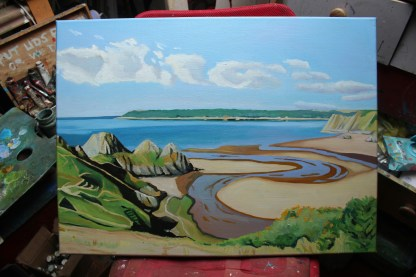 Painting of The Ox Bow, Three Cliffs, Gower
