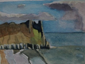 Watercolour of Great Tor, Gower Peninsula by Emma Cownie