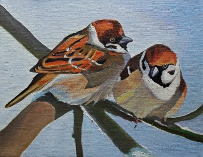 Painting of two treee sparrows for sale