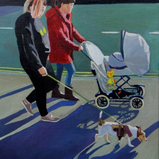 Painting of two women with a pram and a jack russell