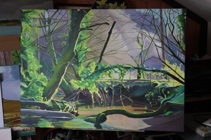 Woodland painting of a Bend in the Stream_Emma Cownie