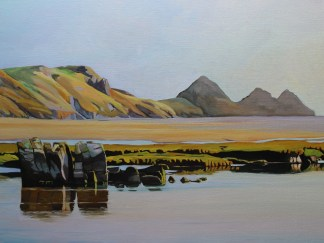 Painting of three cliffs Bay