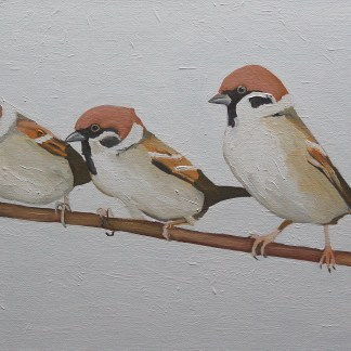 Painting of Three Sparrows