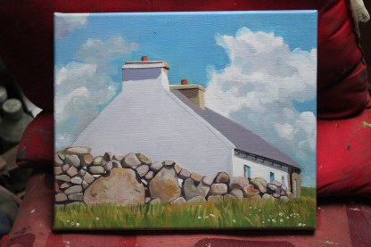 Painting of a Cottage by the Dry Stone Wall, Gola