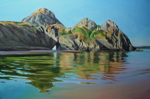 Painting of Three Cliffs Gower