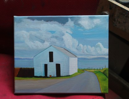 Oil painting of an whitewashed outhouse on Arranmore Island, Donegal.