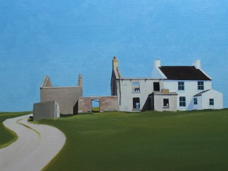 Painting of houses on Gola, Ireland