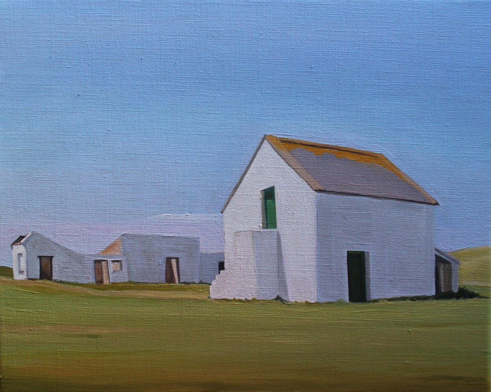 Painting of buildings on Gola Island, Donegal (Ireland)