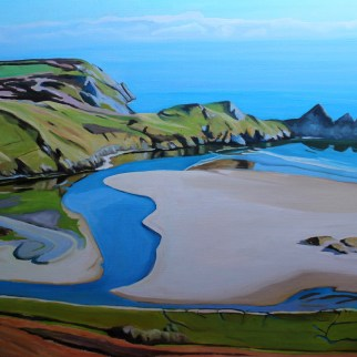 Painting of Three Cliffs Bay Gower Peninsula