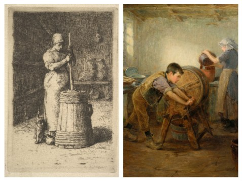 Image 1: Jean François Millet Woman churning butter. Image 2: Ralph Hedley The Butter Churn 1897, wikimedia commons