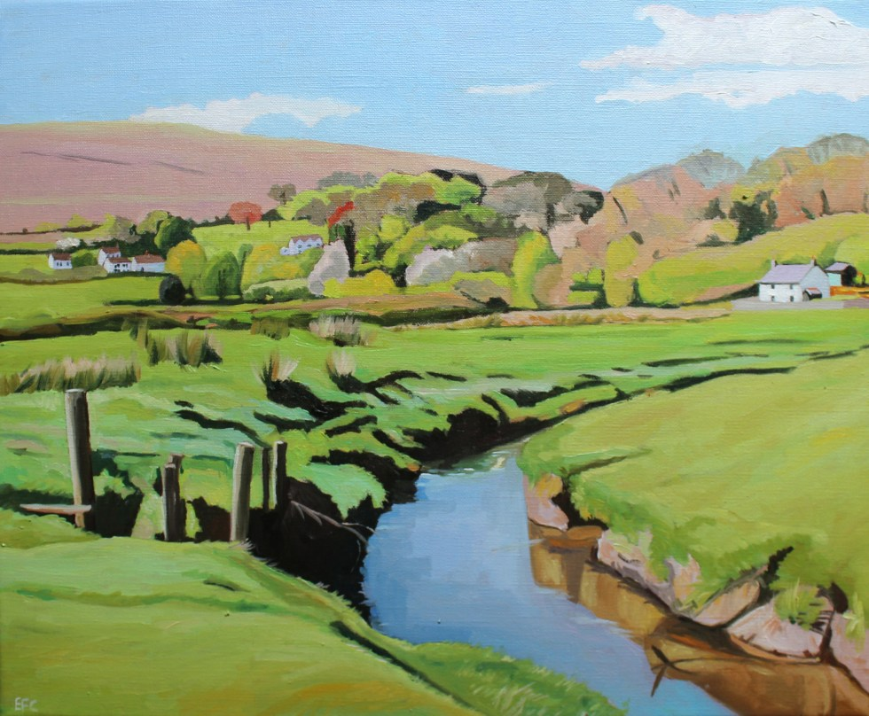 Painting of Pill House and Lanmadoc, North Gower