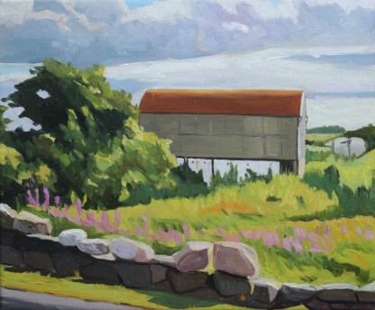 Painting of red tin barn on the Back Road to Dungloe, Donegal