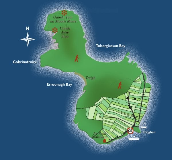 Map of Inishbofin from www.boffinferrydonegal.com
