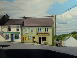 Painting of shops in Ramelton (Donegal)