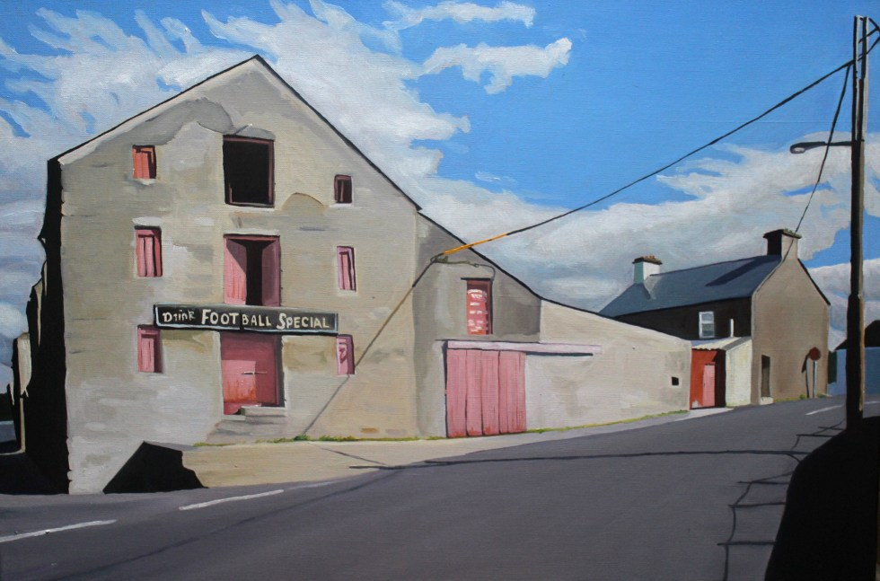 Painting of Mc Daid's Football Special Building, Ramelton Donegal