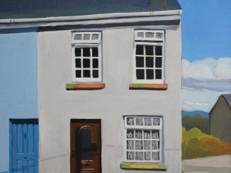Painting of house on steep hill (Ramelton, Donegal)