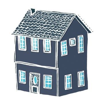 Little House- hand-drawn and digitally coloured.