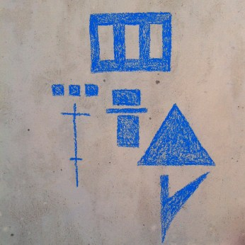 Blue, pastel drawing on city wall. 19/03/2014.