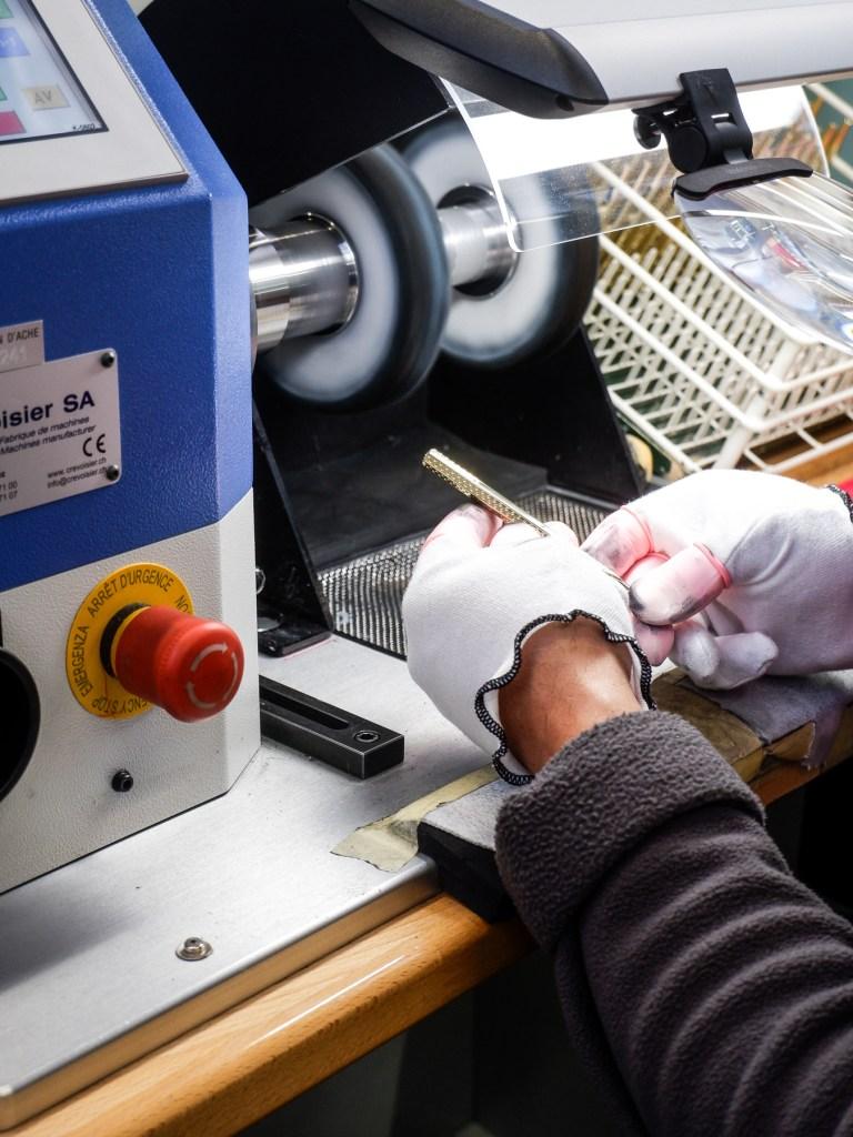 filing a pen at caran d'ache factory