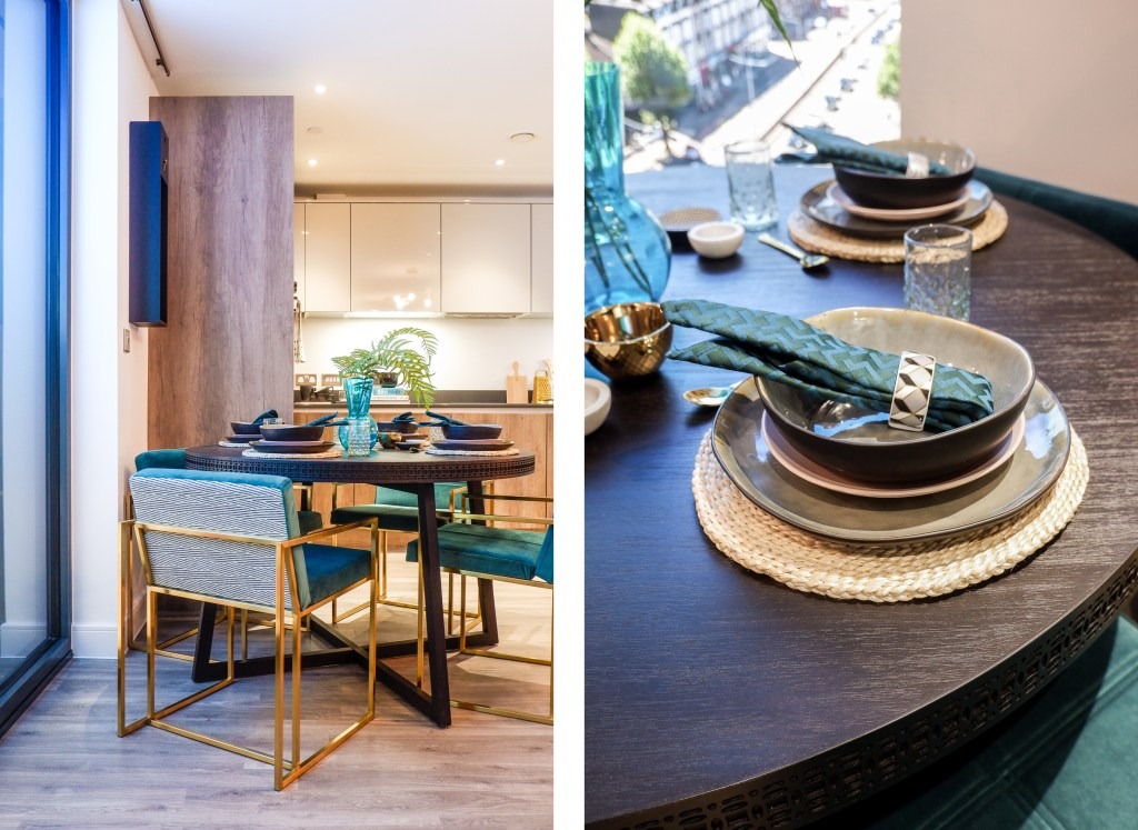 modern London apartment with luxury dining area