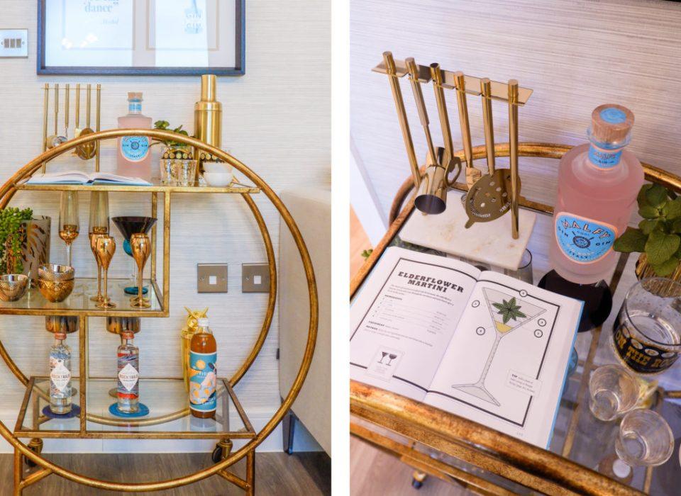 modern London apartment with brass bar cart