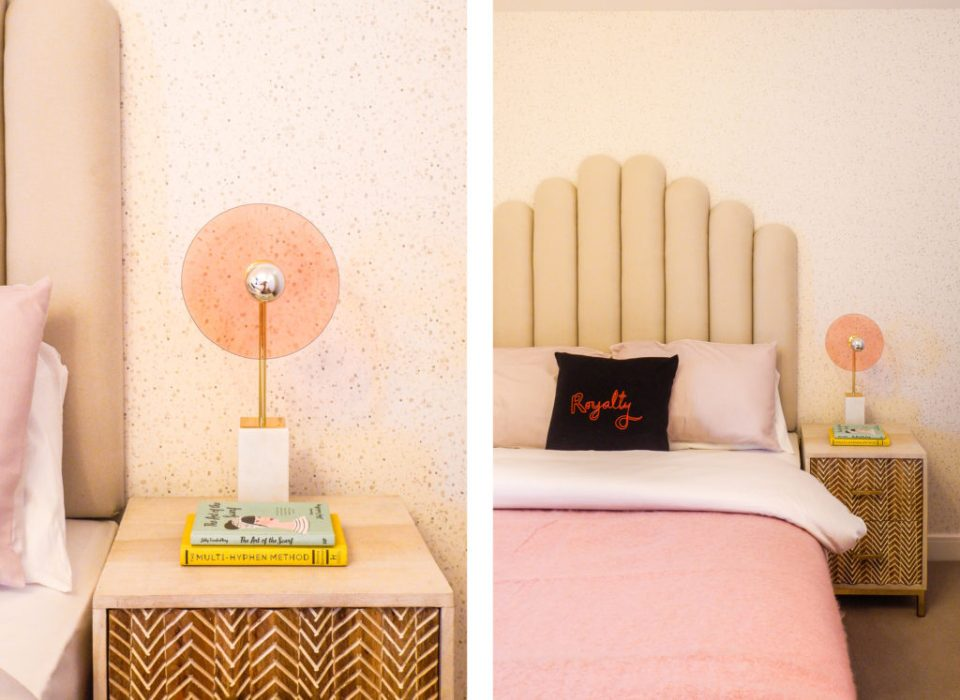 modern London apartment with pink bedroom, seventies lighting and curved headboard