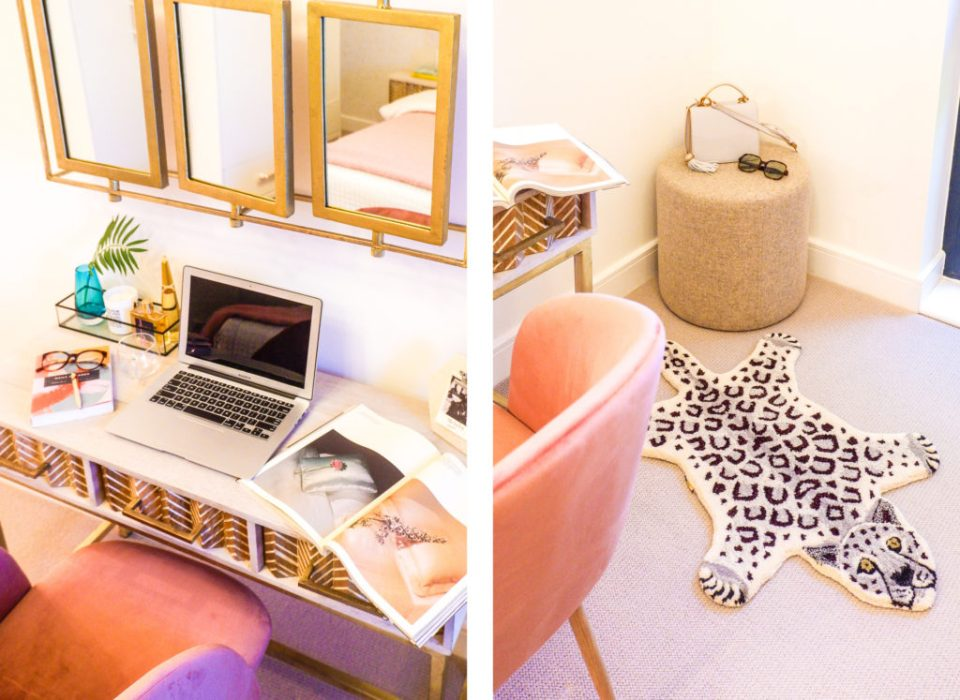 modern London apartment with pink bedroom and dreamy dressing area.